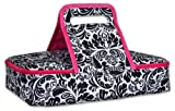 DII Insulated Casserole Carrier, Perfect for Holidays, BBQ's, Potlucks, Parties, To Go Lunches, Craft/Dish Storage & Monogramming - Damask Black/White