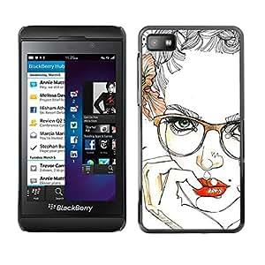 """For Blackberry Z10 Case , Labios Gafas floral de las rosas Mujer atractiva"""" - Diseño Patrón Teléfono Caso Cubierta Case Bumper Duro Protección Case Cover Funda"""