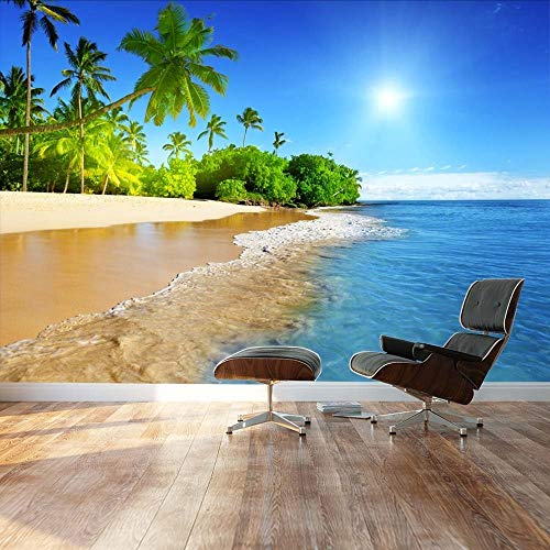 Palm trees on tropical beach vacation Landscape Wall Mural