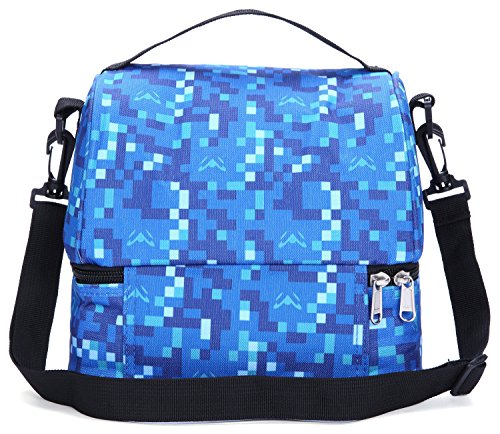 MIER Double Decker Insulated Lunch Box Soft Cooler Bag Thermal Lunch Tote with Shoulder Strap (Blue) by MIER (Image #1)