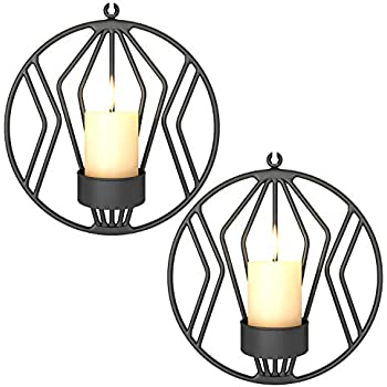Pasutewel Wall Mounted Candle Holder Set of 2 Tea Light Candle Sconces Metal Wall Decor for Home Living Room Wedding Events (Black)