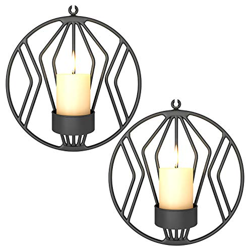 Pasutewel Wall Mounted Candle Holder Set of 2 Tea Light Candle Sconces Metal Wall Decor for Home Living Room Wedding Events (Black) (Wall Candle Sconces Outdoor)
