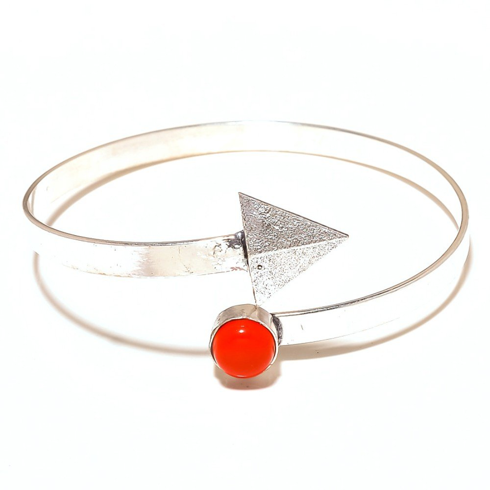 Girls Gift Jewelry Red Coral Sterling Silver Overlay 10 Grams Bangle//Bracelet Free Size