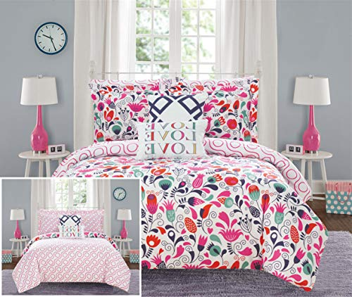 Chic Home Helmsley Garden 7 Piece Reversible Comforter Set Colorful Floral Print Design Bed in a Bag - Sheet Set Decorative Pillows Sham Included, Twin/Twin XL Size, Pink from Chic Home