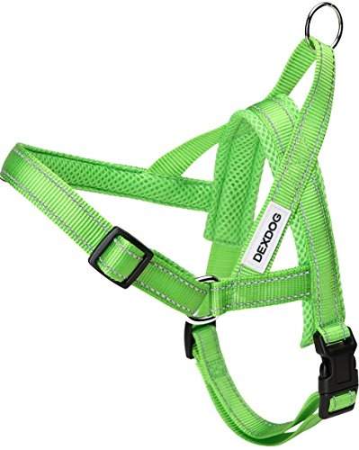 #1 Best Dog Harness — EZHarness by DEXDOG — On/Off Walk in Seconds! [Green Medium M] — Easy Quicker Step In Dog Harness Vest — Puppy No Pull Reflective Mesh Handle Adjustable Training