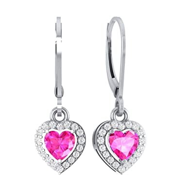 8ad7a4728 Image Unavailable. Image not available for. Color: Hanssini Jewels 2.50 CT  Heart Shaped Pink Sapphire CZ 14k White Gold Plated HALO Ladies Drop