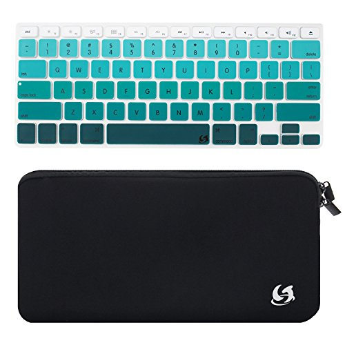 Litop® 2 in 1 Black Color High Quality Zippered Neoprene Keyboard Sleeve Case Sleeve Bag and Green Gradient Thin Silicone Keyboard Cover Keyboard Skin for Apple Bluetooth Wireless Keyboard MC184LL/B (Case with Green Gradient Cover) (Keys Powerbook Keyboard)