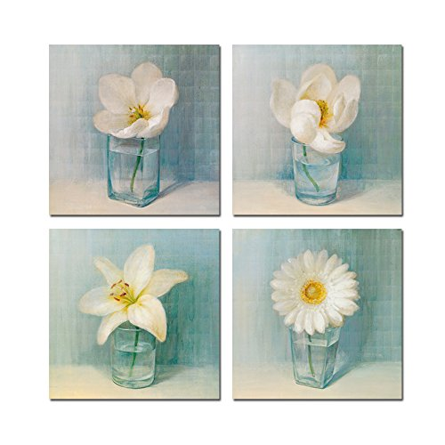 Sea Charm - 4 Panel Vintage Flower Canvas Wall Art,Home Office Decoration Hanging Art,Modern Floral Canvas Artwork,White Lily Daisy Flower Vase Picture Giclee Print on Canvas Ready to Hang ()
