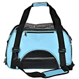Yoption Portable Pet Carrier Outdoor Bag, Airline Approved Tetrahedral Mesh Ventilative Travel Tote Soft-Side Bag for Pets Cat and Small Dog (L, Blue)