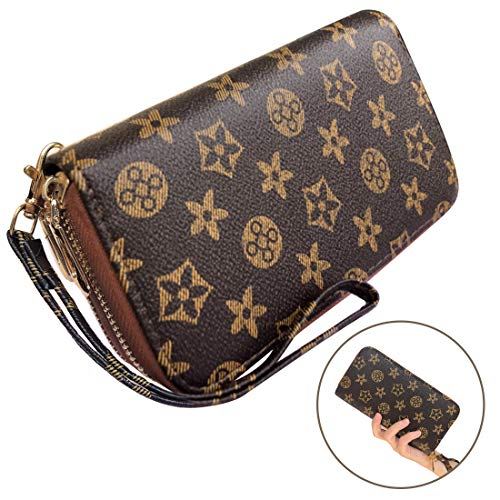 - Wristlet Wallets for Women Leather Big Long Zipper Clutch RFID with Card Holder Organizer (Brown&Yellow)