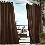 Cross Land Outdoor Waterproof Patio Curtains Drapes Canopy Gazebo Privacy Water & Wind Repellent Courtyard Exterior Blackout Shade for Porch (54'x 108', Chocolate)