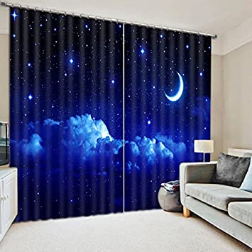 Amazing 2 Panels Blackout Curtains,3D Dreamy Night Sky Print Window Treatment  Curtains,Light Blocking