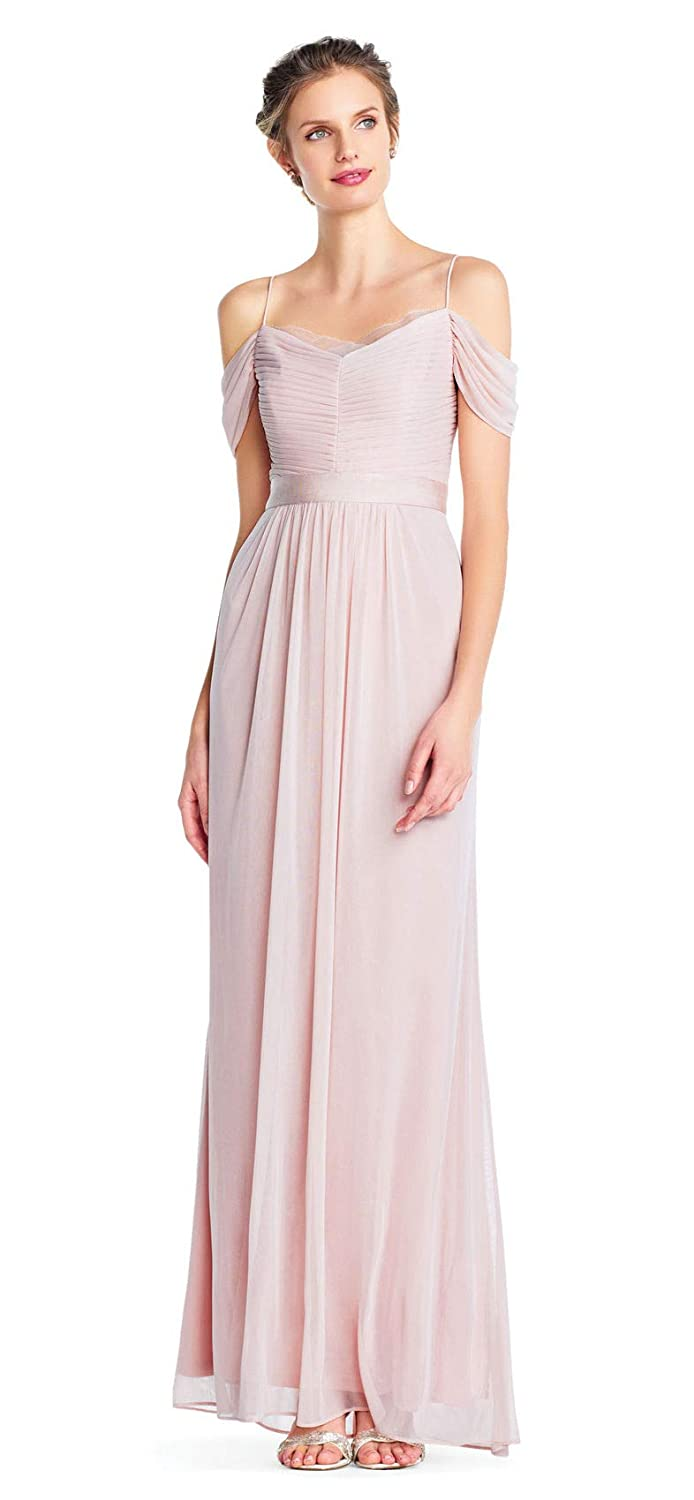4f3e7518097e Amazon.com: Adrianna Papell Off Shoulder Shirred Tulle Gown Draped Details,  Blush, 14: Clothing