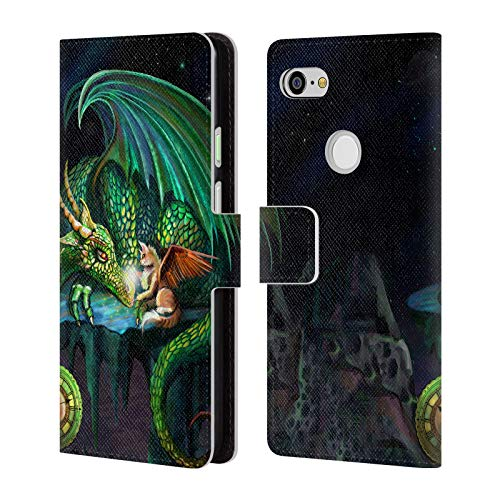 Official Rose Khan Green Time Dragons Leather Book Wallet Case Cover for Google Pixel 3 XL (Leather Green Dragon)