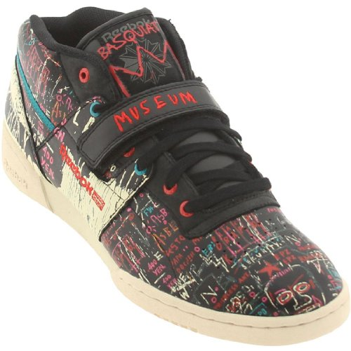 Reebok - Mens Workout Mid Strap I Blk Pprwht Nepal Red Midtop Shoes, Size: 9 D(M) US, Color: Black Paperwhite Nepal Red Multi