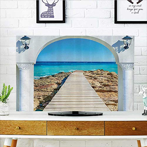 L-QN Cover for Wall Mount tv Window Curve The Sea with Quay Wooden Coastline Bathroom Access Cover Mount tv W32 x H51 INCH/TV 55