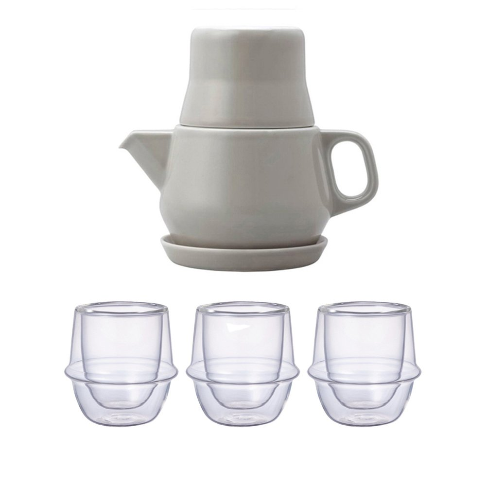 KINTO Gray Tea For One and Three KRONOS Double Wall Glass Espresso Cup, Set of 4 by KitcheNova (Image #1)