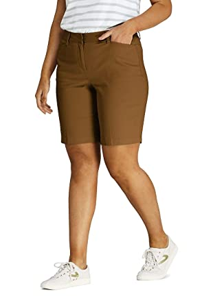 "57e482b1c Lands' End Women's Plus Size Mid Rise 10"" Chino Bermuda Shorts, ..."