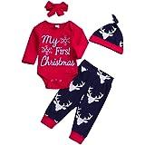Fuibo Kleidung Baby Weihnachten Set 4 ST/ÜCKE Weihnachten Neugeborenes Baby Brief Top Deer Cartoon Print Hosen Kleidung Sets