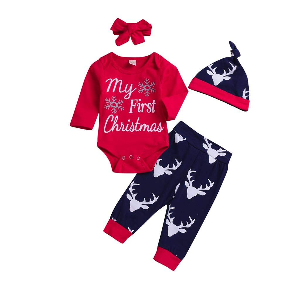 H.eternal Baby Boys Girl Clothing Sets Kids My First Christmas Letter Romper,Cute Deer Warm Long Pants Pyjamas Long Sleeve Cotton Jumpsuit for 0-24 m Baby