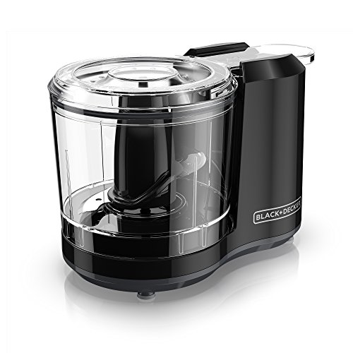 BLACK+DECKER HC150B One-Touch 1.5 Cup Capacity Electric Food Chopper with Improved Assembly & Lid, Black