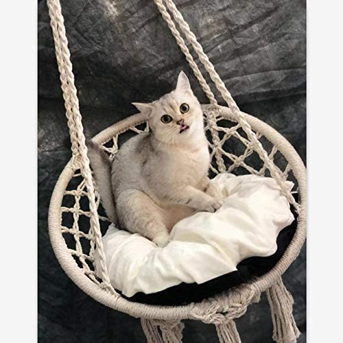 Cama para Mascotas Cuerda de Algod/óN Silla Colgando Sillas de Columpio Cuna YanYun Interior Hamaca Al Aire Libre Silla Macram/é Columpio
