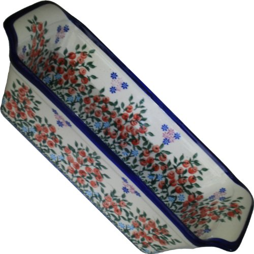 (Polish Pottery Ceramika Boleslawiec 1207/282 Royal Blue Patterns 6-Cup Bread Meatloaf Baker, 12-3/4 by 5-3/8-Inch, Red Berries and Daisies)