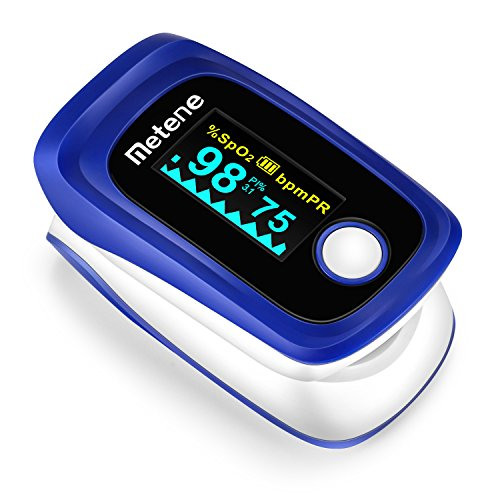 Metene Fingertip Pulse Oximeter Blood Oxygen Saturation Monitor with Carrying Case, Batteries and Lanyard, for Sports and Aviation Use,Large OLED Display and FDA Approved