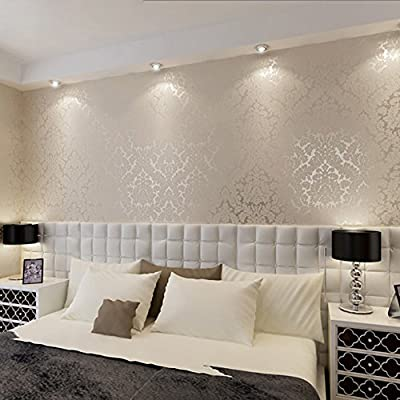 QIHANG European Vintage Luxury Damascus Wall Paper PVC Embossed Textured Wallpaper Roll Home Decoration Cream-white Color Qh-wallpaper 0.53m*10m=5.3?