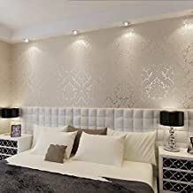 QIHANG European Vintage Luxury Damask Wall Paper PVC Embossed Textured Wallpaper Roll Home Decoration Cream-white Color