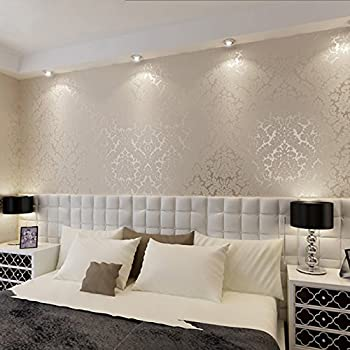 Attractive QIHANG European Vintage Luxury Damask Wall Paper PVC Embossed Textured  Wallpaper Roll Home Decoration Cream