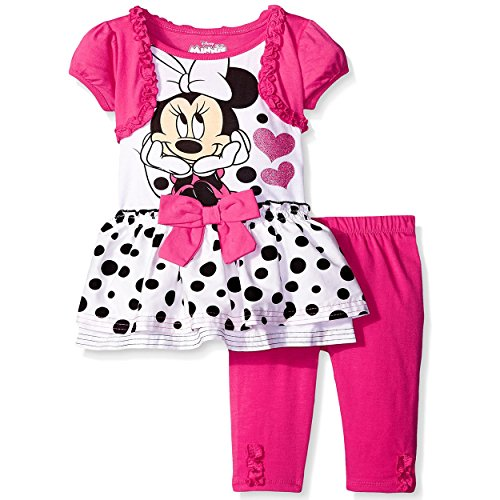 Disney Baby Girls' 2 Piece Minnie Mouse Shrug Tunic and Legging Set, Pink, 12 Months (Minnie Outfit)