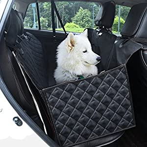 GHB Dog Car Seat Cover Back Seat Pet Hammock 600D Waterproof Tarpaulin with Seat Belt and 2 Pocket for Car SUVs Trucks Click on image for further info.