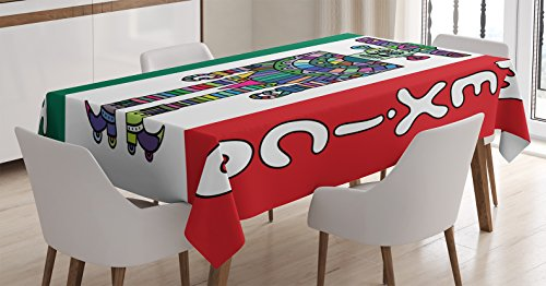 Mexican Decorations Tablecloth by Ambesonne, Mexican Robot with Sombrero and Poncho on Mexican Flag Colored Background, Dining Room Kitchen Rectangular Table Cover, 52 X 70 Inches (Mexican Wedding Flags)