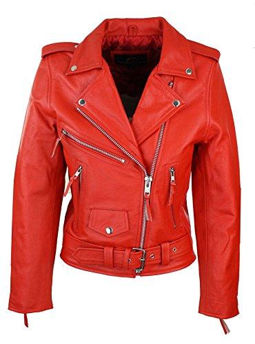 Chiodo Rosso Giacca Stile Vera Donna Classico Brando in Biker Pelle Corta da qwCwTngp