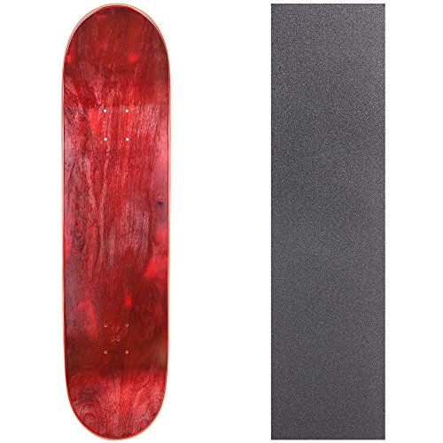 Cal 7 Blank Skateboard Deck with Grip Tape | 7.75, 8.0 and 8.25 Inch | Maple Board for Skating (7.75 inch, Red)