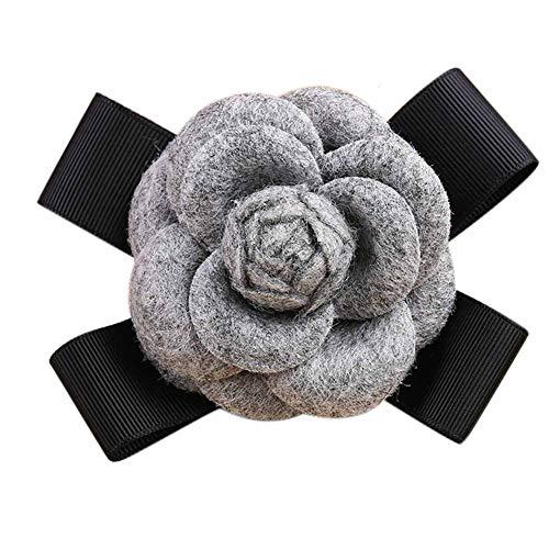 (80Hou Elegant Wool Camellia Flower Brooch Vintage Bow Floral)