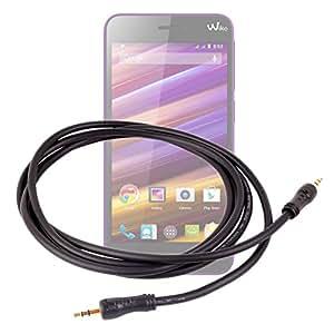"""DURAGADGET-Cable de audio estéreo de clavija de alta calidad con conectores macho dorados de 3,5 mm, para Wiko Jimmy, pantalla de 4,5 """", sistema operativo Android 4,4 Kit Kat"""