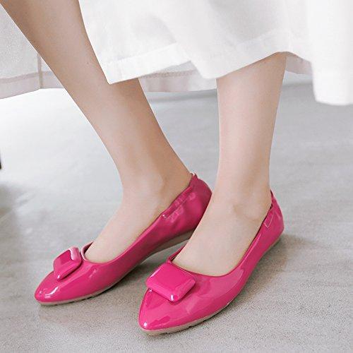 Pointed Spring Red flats Blue Single Women shoes Ladies JIEEME Sweet Black Flat Ballet toe wRnCE5x6qB