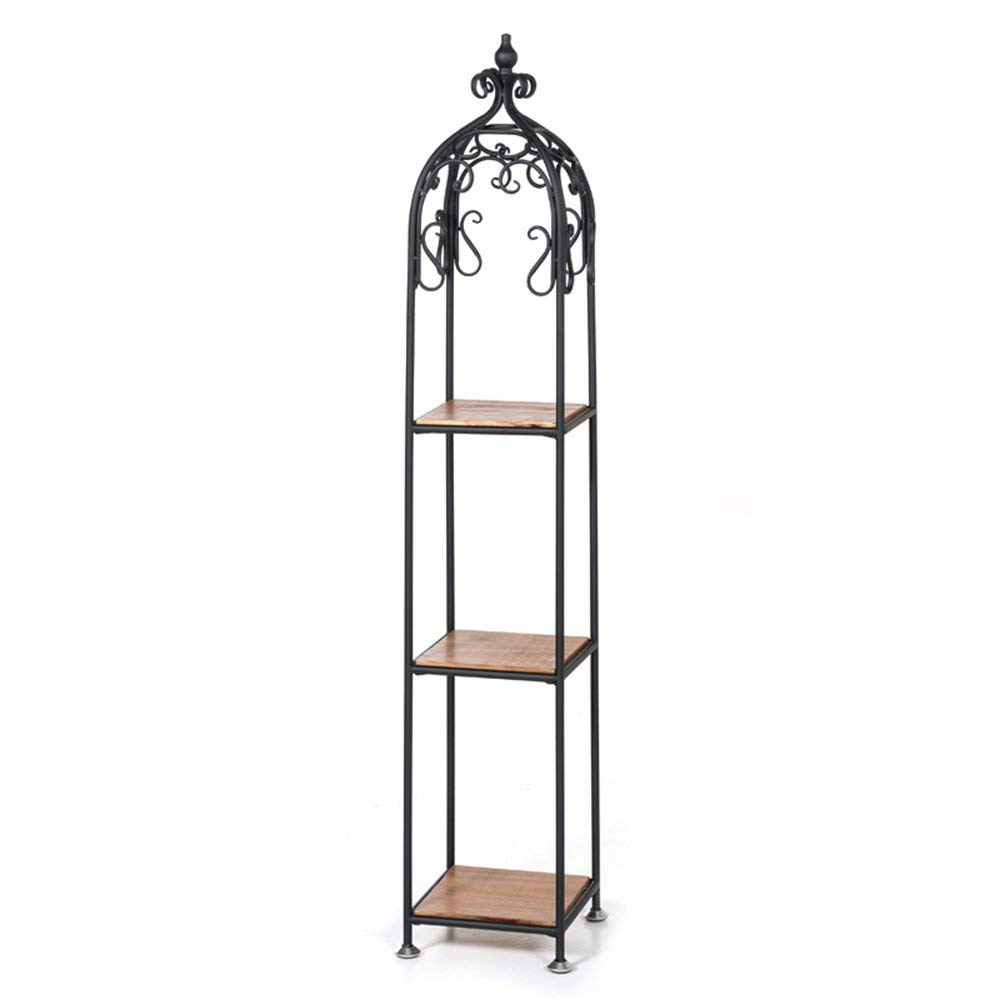 WI Flower Stand-Flower Rack Retro Solid Wood Iron Art Ladder Floorstanding Multilayer Living Room Balcony Indoor and Outdoor Green Plant Flower Stand,2525137cm by WI