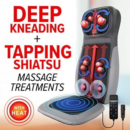Daiwa Felicity Shogun Heated 3D Shiatsu Kneading & Tapping Back Neck Massage Seat Cushion for Chair Car with Vibration Memory Foam ()