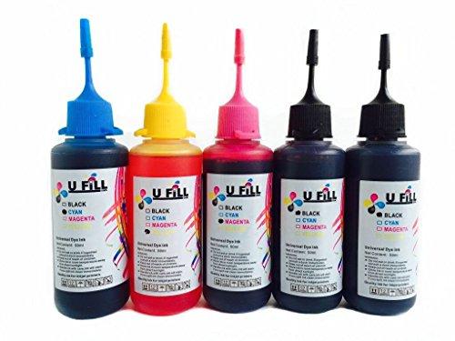 HP 60 Refill Kit for HP 60 Ink Cartridges for HP ENVY 120 110 Deskjet F4480 F4280 F4580 D1660 F2420 PhotoSmart C4780 C4680 C4795 Printers (50UFHP60B2TC1) 5PK 50ml U FiLL INK