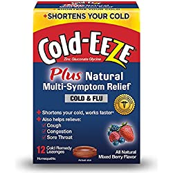 Cold-EEZE Cold Remedy Plus Multi-Symptom Relief Lozenge, Mixed Berry, 12 Count