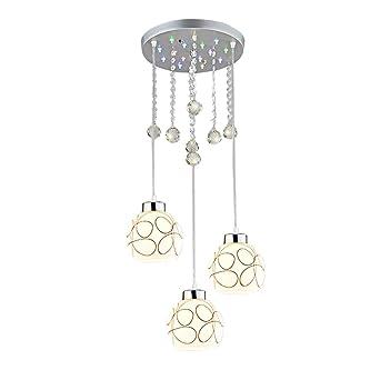 Ampoules Led 3 Suspension Design Cristal Lampe Suspendue Mini Rond nPwX80kO