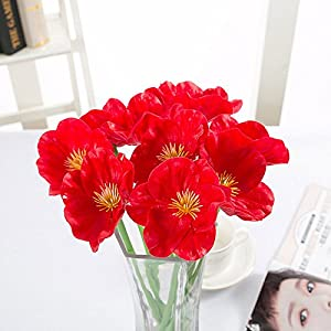FYYDNZA 10 Pc Pu Real Touch Poppy Floral Bouquet Decorative False Flower For Room Home Wedding Decoration,Rood 48