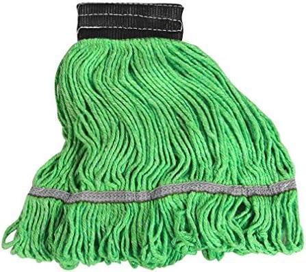 Boss Cleaning Equipment B810089 Medium Green String Microfiber Mop Head 5 Headband