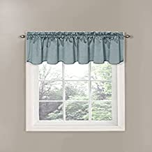 Eclipse Canova 42-Inch by 19-Inch Thermaback Blackout Scallop Valance, River Blue
