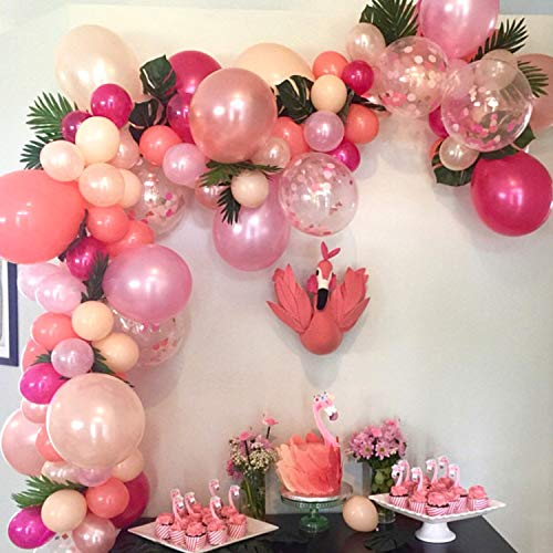 TOPLLON Latex Balloons Confetti Balloons Pink 12 Inch 57 PCS Matte Pink Blush BalloonsArchKit for Baby Shower Princess Birthday Party Decorations Wedding Supplies - 8 Colors -