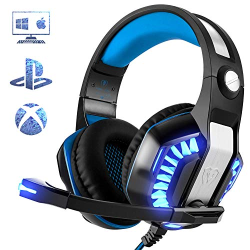 Beexcellent Gaming Headset for PS4 PC Xbox One, Professional Stereo Gaming Headphone with Noise Canceling Mic, All-Cover Memory Foam Earmuff, Thumb Wheel Volume Switch for Laptop Mac Tablet