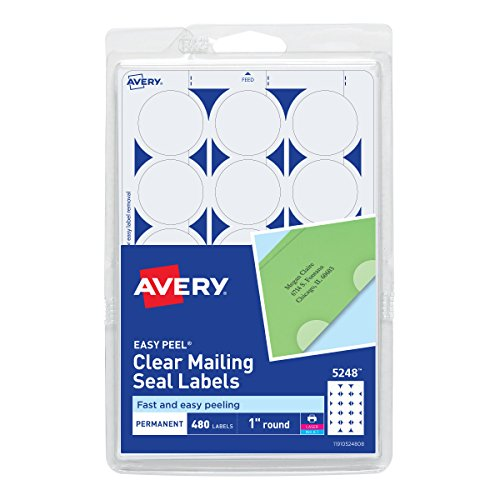 Avery Mailing Seals, Clear, Permanent,Non-Perforated, 480 per Pack (5248)]()